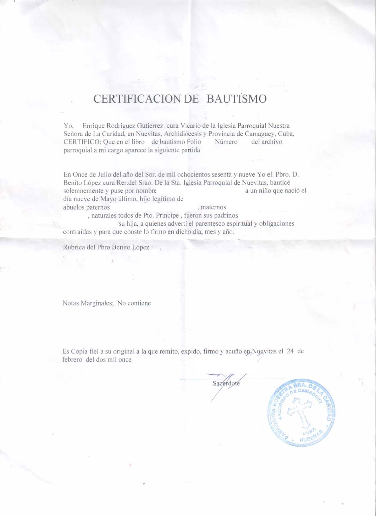 Cuban baptismal certificates cubacityhall actual cuban baptismal certificates xflitez Image collections