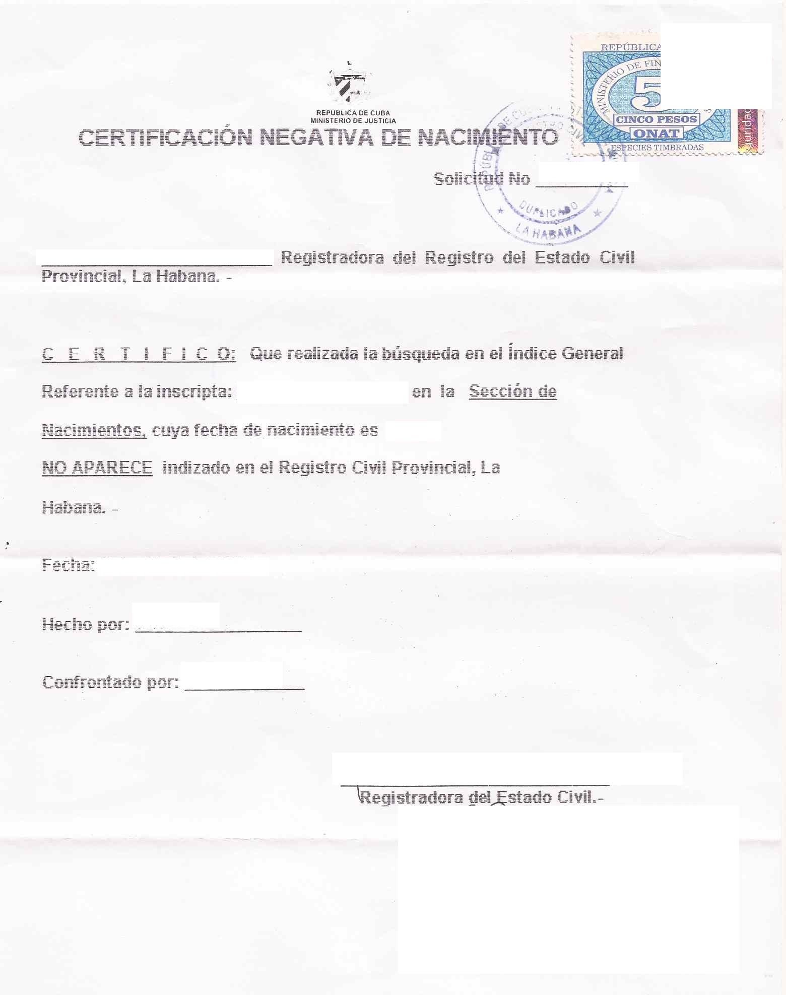 negative Cuban birth certificate