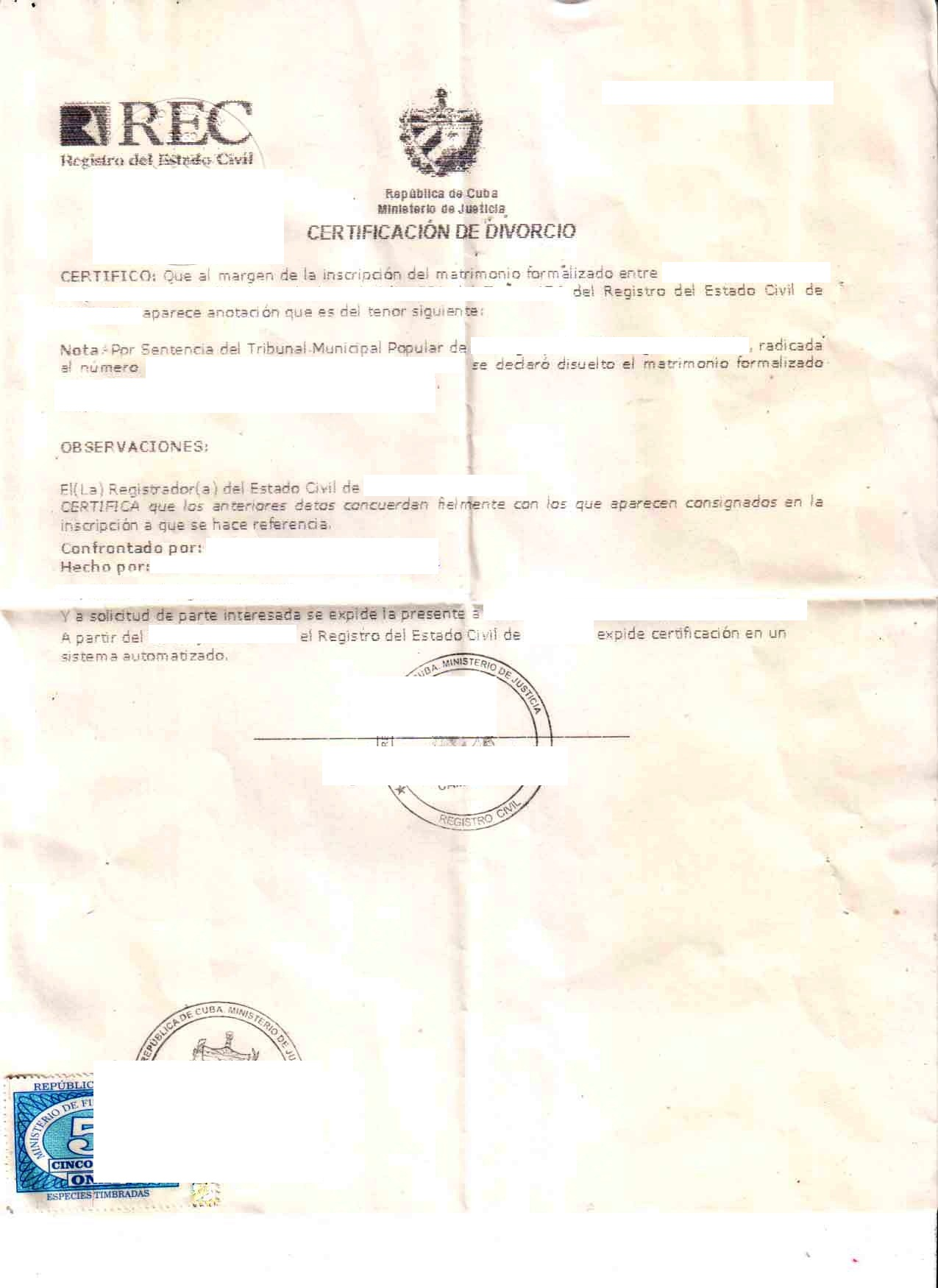 Cuban divorce certificate