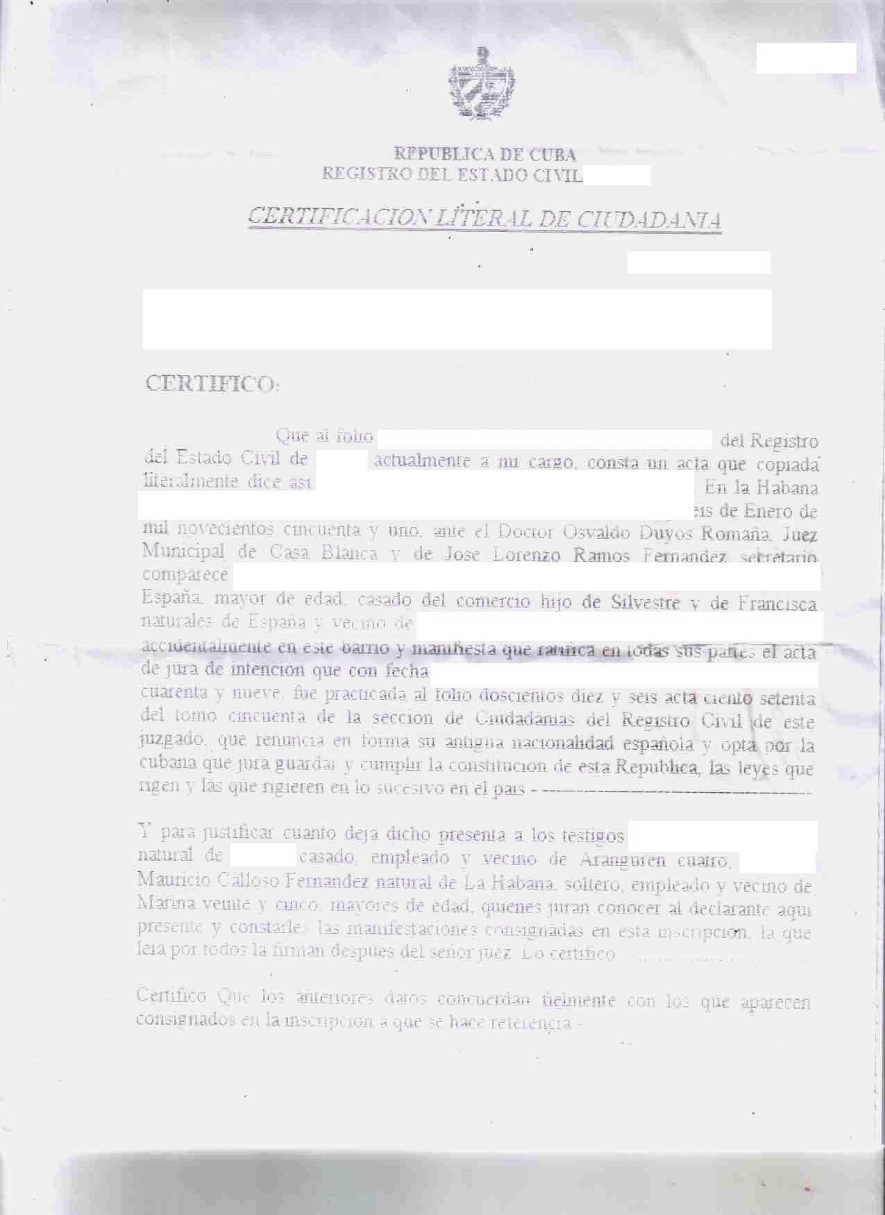 Cuban Citizenship Certificate - CubaCityHall.com