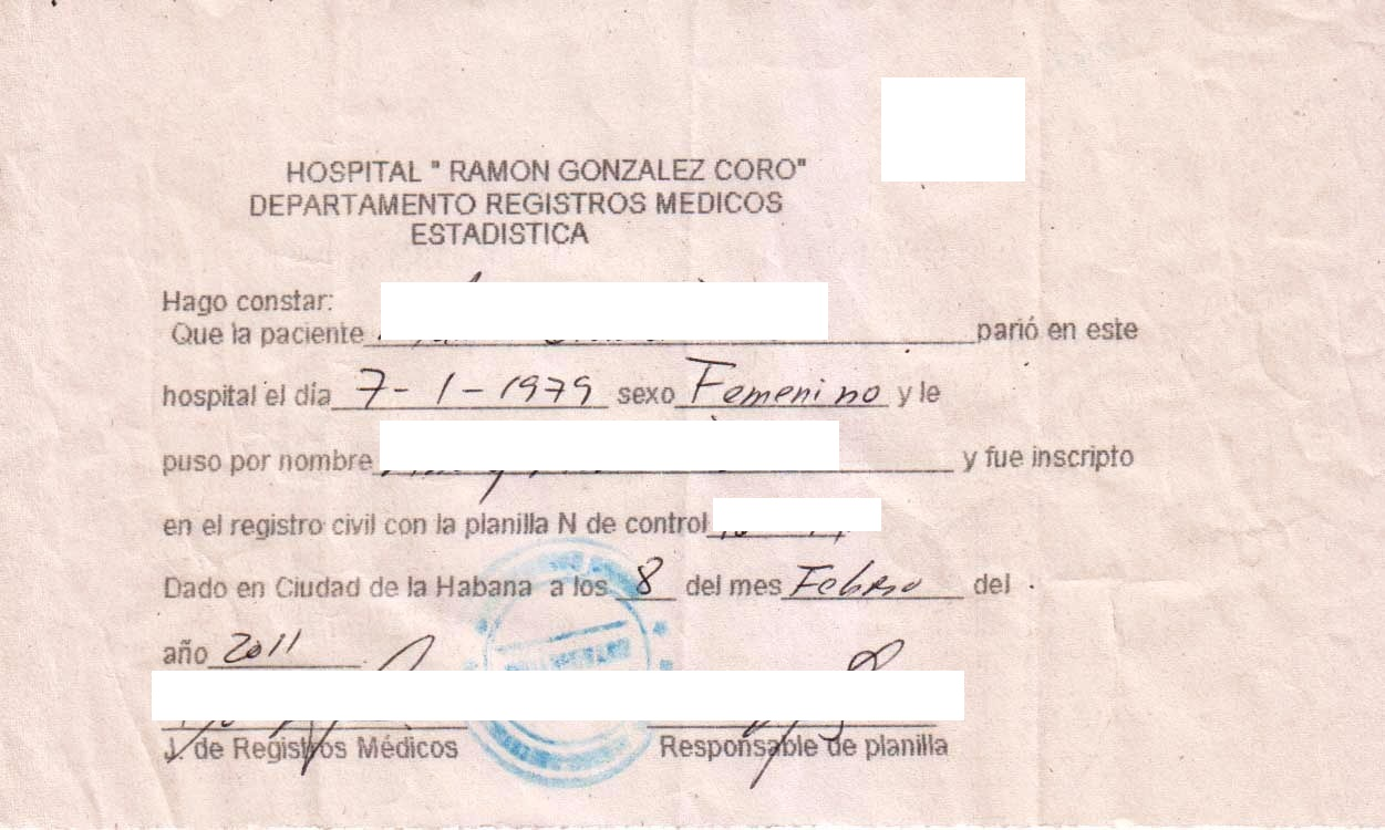 Cuban hospital birth record