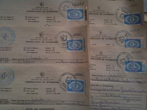 certificates from Cuba