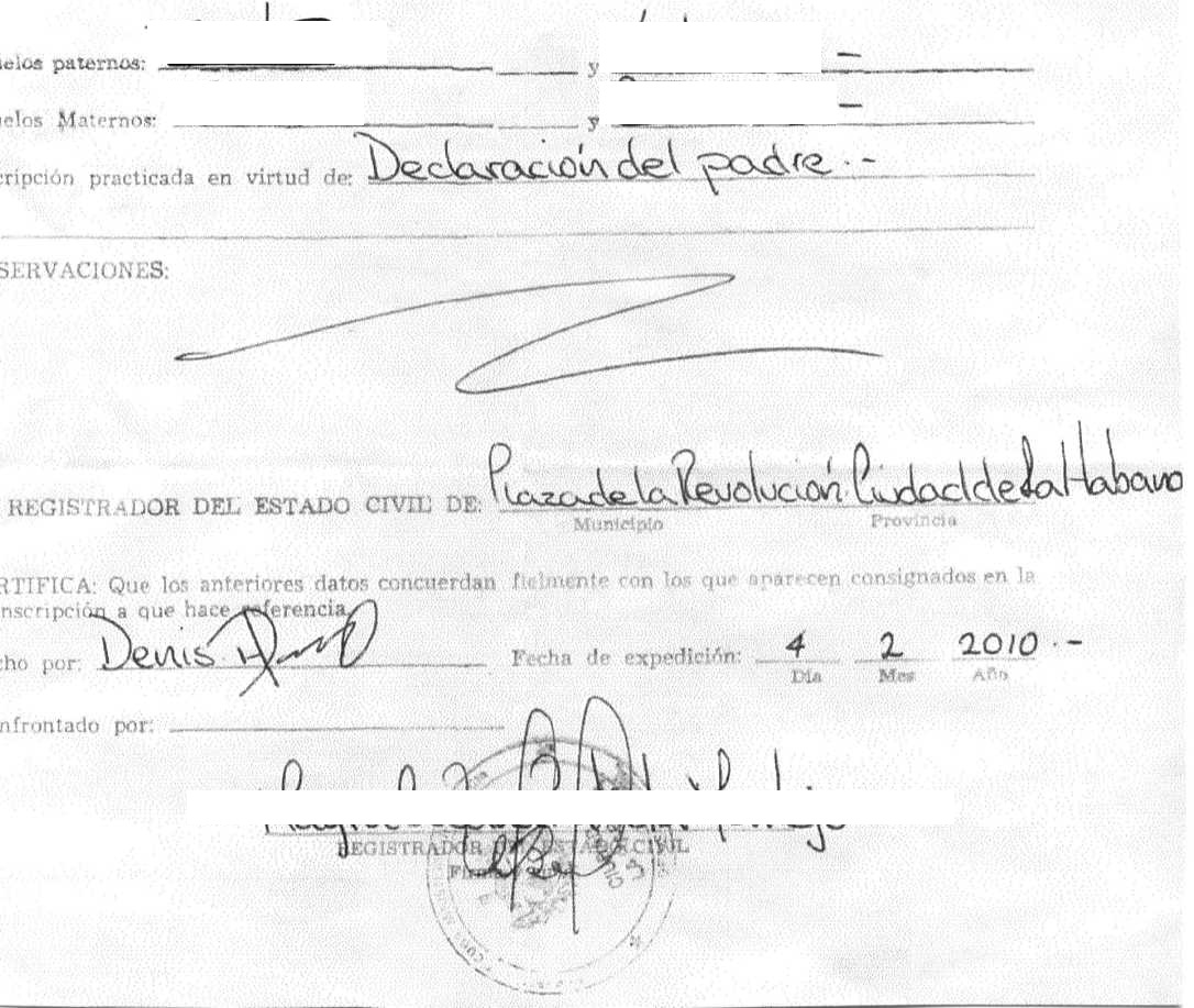 Cuban birth certificate cubacityhall this is a minrex legalized cuban birth certificate xflitez Gallery
