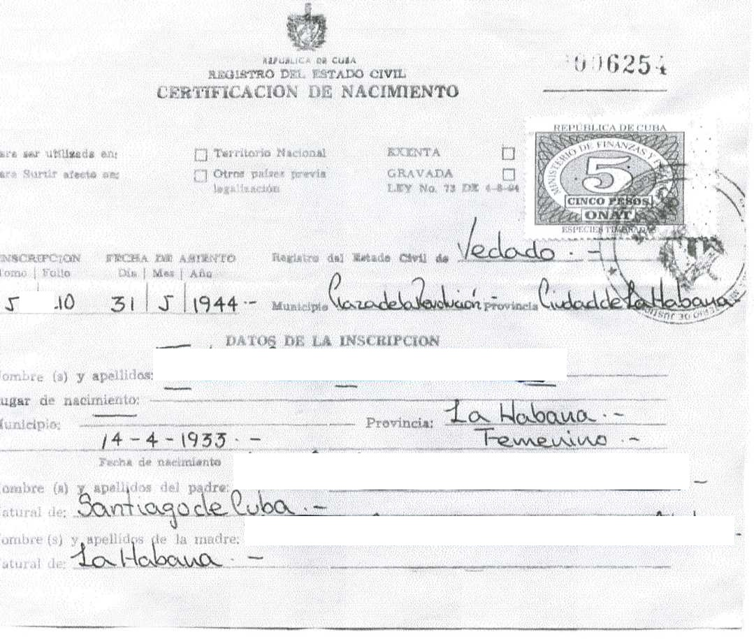 cuban birth certificate front