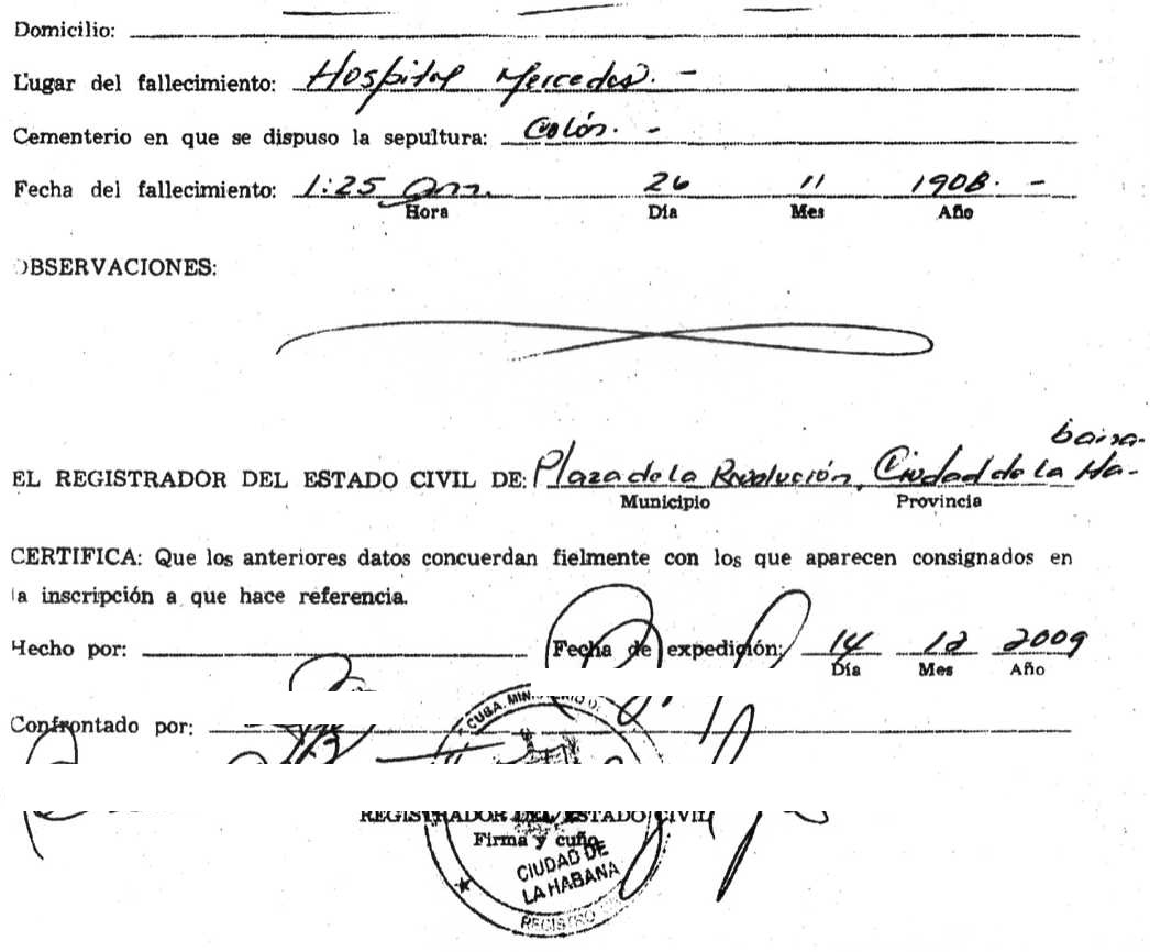 Cuban death certificate cubacityhall back of cuban death certificate xflitez Image collections