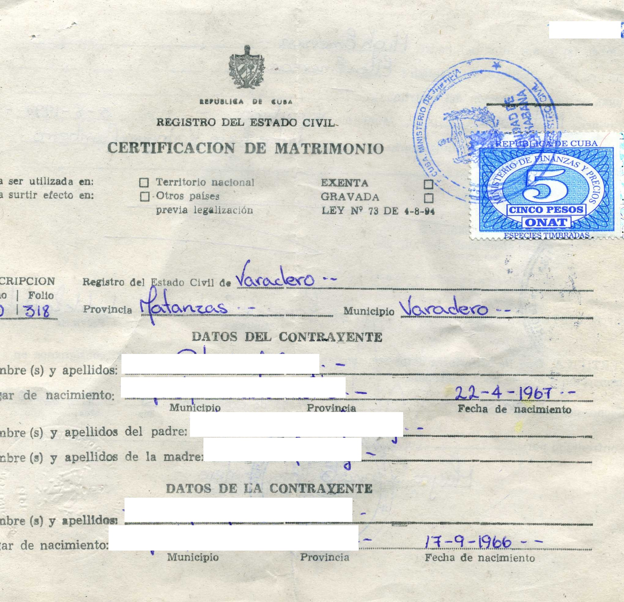 Cuban marriage certificate front